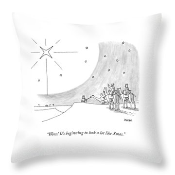 Three Men On Camels Look At The Night Sky.  One Throw Pillow