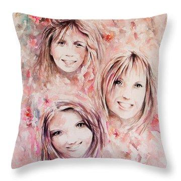 Three Miracles Throw Pillow by Rachel Christine Nowicki