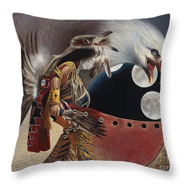 Three Moon Eagle Throw Pillow by Ricardo Chavez-Mendez