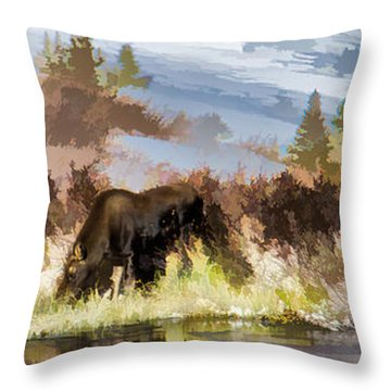 Three Moose Throw Pillow
