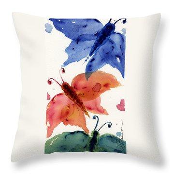 Three Moths II Throw Pillow by Dawn Derman