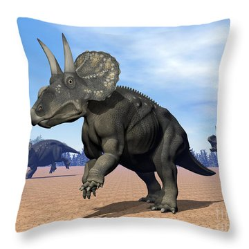 Three Nedoceratops In The Desert Throw Pillow by Elena Duvernay