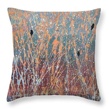 Throw Pillow featuring the painting Three Of A Kind by Suzanne Theis