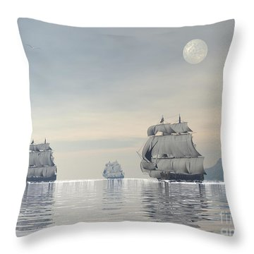 Three Old Ships Sailing In The Ocean Throw Pillow