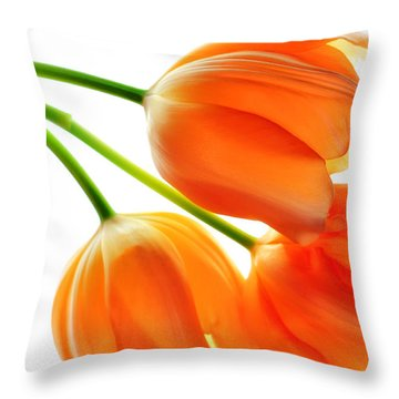 Three Orange Tulip Flowers 3 Throw Pillow by Charline Xia
