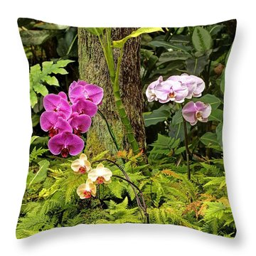 Three Orchid And A Tree Throw Pillow