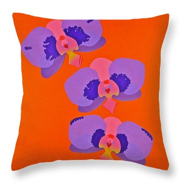 Throw Pillow featuring the mixed media Three Orchids by Michele Myers