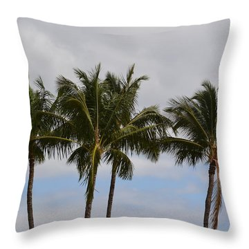 Three Palm Trees Throw Pillow