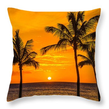 Throw Pillow featuring the photograph Three Palms Golden Sunset In Hawaii by Aloha Art