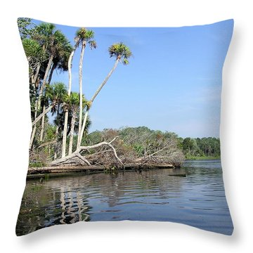 Three Palms Reflected In The Chassahowitzka River Throw Pillow