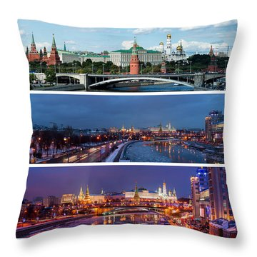 Three Panoramas Of Moscow Kremlin - Featured 3 Throw Pillow