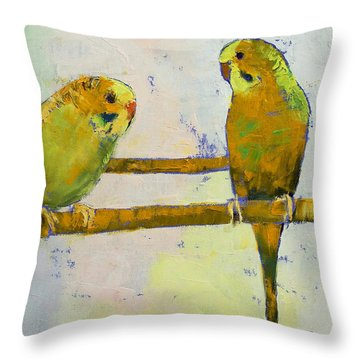 Three Parakeets Throw Pillow