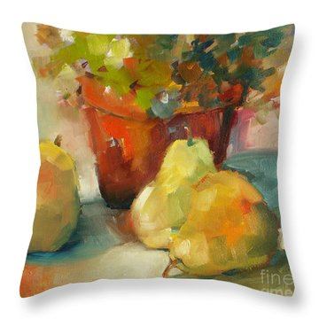 Three Pears And A Pot Throw Pillow by Michelle Abrams
