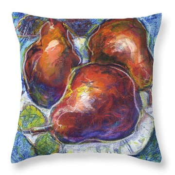Three Pears On A White Plate Throw Pillow