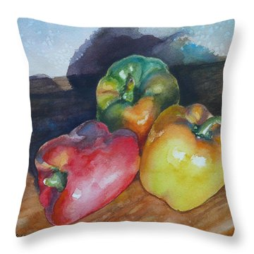 Three Peppers Throw Pillow by Anne Gifford