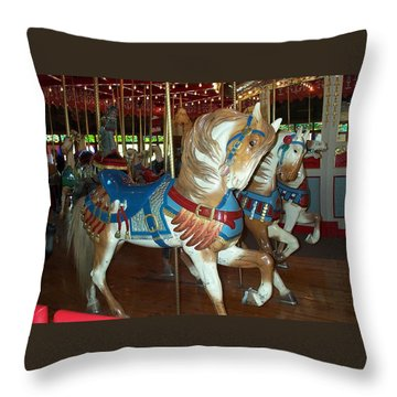 Throw Pillow featuring the photograph Three Ponies In White And Brown - Ct by Barbara McDevitt