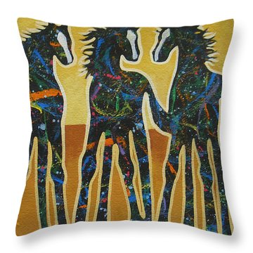Three Ponies Throw Pillow