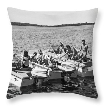 Three Power Boats Gather Together For Summer Boating Fun Throw Pillow