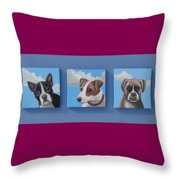 Three Pups Throw Pillow by Stuart Swartz