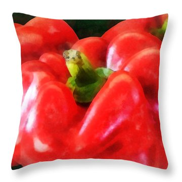 Three Red Peppers Throw Pillow by Susan Savad