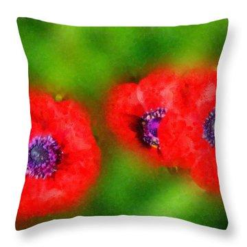 Three Red Popies  Throw Pillow