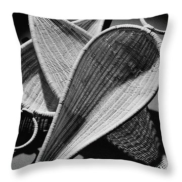 Three Reed Baskets Throw Pillow