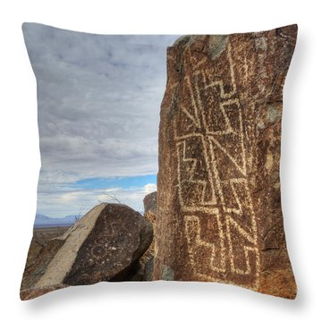Three Rivers Petroglyphs 4 Throw Pillow by Bob Christopher
