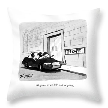Three Robbers Sit In A Car Outside A Building Throw Pillow