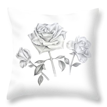Throw Pillow featuring the drawing Three Roses by Elizabeth Lock