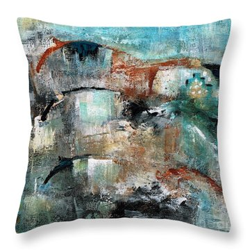 Three Running Horses Throw Pillow