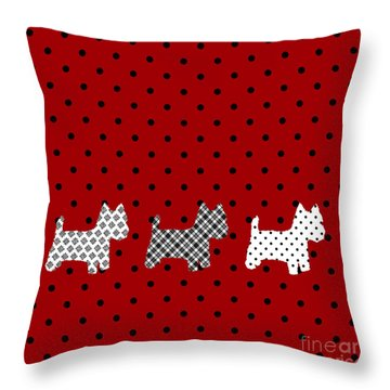 Three S Red And Black Polka Dots Throw Pillow Throw Pillow