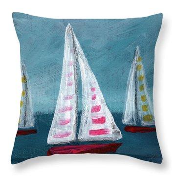 Three Sailboats Throw Pillow