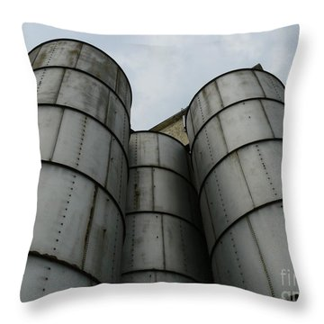Throw Pillow featuring the photograph Three Silos by Jane Ford