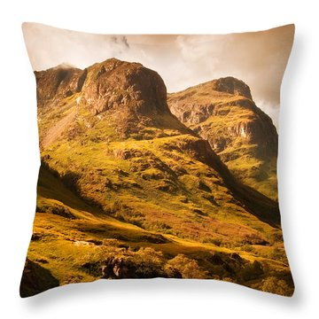 Three Sisters. Glencoe. Scotland Throw Pillow
