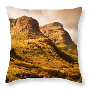 Three Sisters. Glencoe. Scotland Throw Pillow