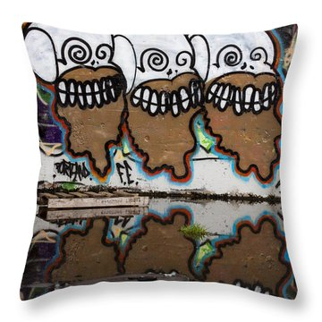 Three Skulls Graffiti Throw Pillow