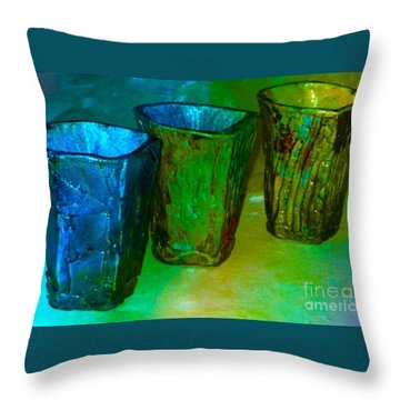 Three Smoke Fired Vases Throw Pillow by Joan-Violet Stretch