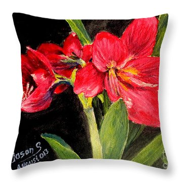 Three Stalks Of Lilies Blooming Throw Pillow