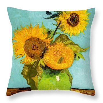 Three Sunflowers In A Vase Throw Pillow
