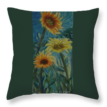Three Sunflowers - Sold Throw Pillow