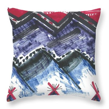 Throw Pillow featuring the drawing Three Tepees by Don Koester