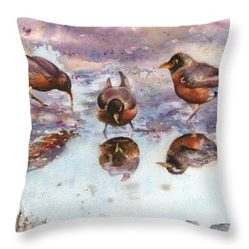 Three Thirsty Robins Throw Pillow