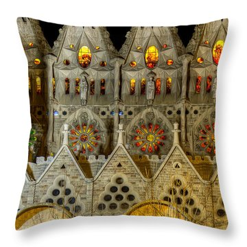Three Tiers - Sagrada Familia At Night - Gaudi Throw Pillow