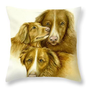 Three Toller Dogs Throw Pillow by Nan Wright