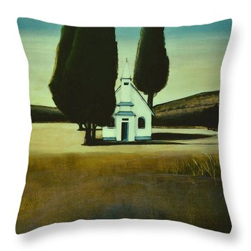 Three Trees And A Church Throw Pillow