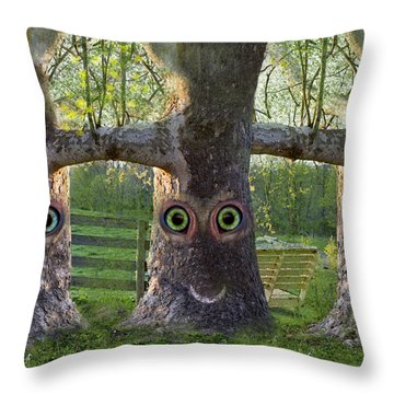 Three Trees Throw Pillow by Betsy Knapp