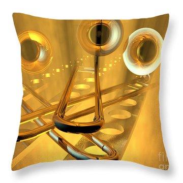 Three Trombones Throw Pillow