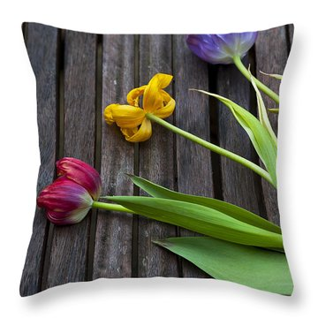 Three Tulips Throw Pillow by Svetlana Sewell