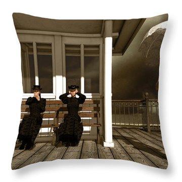 Three Victorian Ladies Sepia Throw Pillow