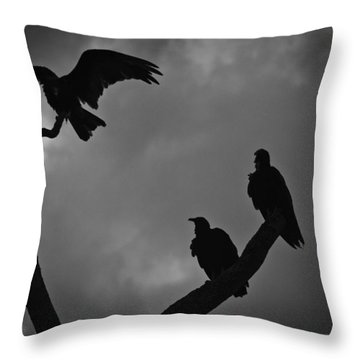 Throw Pillow featuring the photograph Three Vultures by Bradley R Youngberg